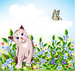 Blue-eyed Little Kitten At The Meadow stock vector