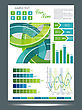 Blue And Green Technological Banner With Information Graphics . Vector Illustration