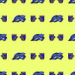 Blue Helmet And Gloves Seamless Pattern Isolated On Yellow Background