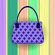 Blue Modern Womens Handbag On Colorful Planks Background
