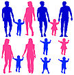 Blue, Pink Silhouettes Gay, Lesbian Couples And Family With Children On White Background. Vector Illustration