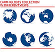 Blue Planet In Six Views Over White stock vector