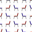Blue And Red Office Chairs Seamless Patternon White Background. Side View