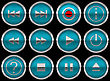 Blue Round Control Panel Buttons Or Icons Isolated On Black