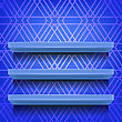 Blue Shelves On Ornamental Blue Lines Background