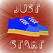 Blue Shoes Banner With Positive Quote On Red Background. Motivation To Action