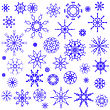 Blue Snow Flakes Isolated On White Background