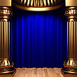 Blue Velvet Curtains Behind The Gold Columns Made In 3d stock image