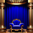 Blue Velvet Curtains, Gold Columns And Chair Made In 3d stock illustration