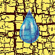 Blue Water Drop On Yellow Grunge Background stock illustration