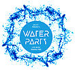 Blue Water Splash Isolated On White, Vector Background