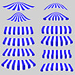 Blue White Tents Isolated On Grey Background