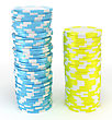 Blue And Yellow Casino Or Roulette Chips Over White. Extralarge Res. Other Leisure Stuff Is In My Portfolio