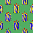 Blue Yellow Wax Candles Seamless Pattern Isolated On Green Background. Burning Candles Set