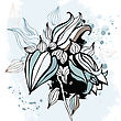 Bluebell Flower. Watercolor Hand Drawn Vector Illustration