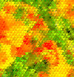 Blurred , Blur Abstract Background With Orange And Green Triangles. Garden Flowers Blurred Picture For Web And Mobile Design