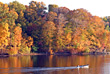 Boat on the Lake in the Fall stock photo