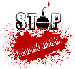 Bomb Icon On Red Grunge Background. Stop Terrorism Banner