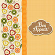 Bon Appetite Card With Fruits, Vector Illustration