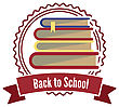 Books Badge Label As Back To School Stamp Vector Illustration