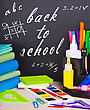 Exercise Books And Pencils On Table On School Desk Background stock photo