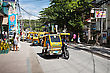 BORACAY, PHILIPPINES - MARCH 04: Tricycle On The Street, March 04, 2013, Boracay, Philippines. Motorized Tricycles Are A Common Means Of Passenger Transport Everywhere In The Philippines stock photography