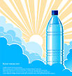 Bottle Of Water Background With Sunlight.Vector Illustration For Text And Design
