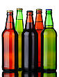Bottles Of Lager And Dark Beer From Brown And Green Glass stock photo