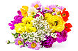 Bouquet Of Different Flowers Of White, Yellow, Red And Pink Colors stock photography