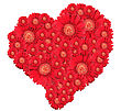 Bouquet Of Red Flowers As Heart-form Close-up Studio Photography stock photography