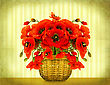Bouquet Of Red Poppy Flowers In Basket On Vintage Card