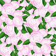 Bouquet Of Roses Random Seamless Pattern. Fresh Floral Background