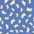 Bouquet Of Roses Randon Seamless Pattern On Blue Background