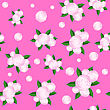 Bouquet Of Roses Randon Seamless Pattern On Pink Background