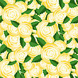 Bouquet Of Yellow Roses Random Seamless Pattern. Fresh Floral Background