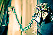 Bow At The Curtain. Christmas Decoration stock photo