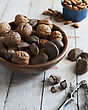 Bowl Of Mixed Nuts, Brazils, Walnuts And Almonds stock image