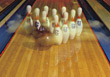 Special Effects  Bowling Ball Striking Pins stock photography