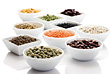 Bowls with Fresh Beans & Vegetables stock photo