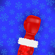 Turquoise Boxing Santa With Red Glove On Blue Snowflake Background stock illustration