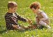Boy and Girl with Easter Basket stock image