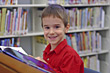 Boy at the Library stock image
