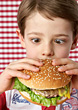 Boy Eating Hamburger stock photography