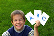 Boy Holding ABC stock image