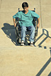 Handicapped Boy in Wheelchair stock photo
