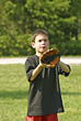 Boy Playing Catch stock photo