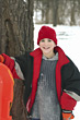 Boy Sledding stock image