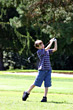 Golf Boy Swinging Club stock photography