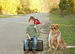 Boy Traveling with Dog stock photo