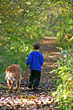 Boy Walking on Path with Dog stock photography